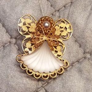 Vintage Angels of Love pin / brooch